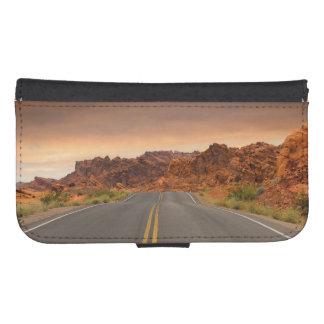 Capa Carteira Para Samsung Galaxy S4 Por do sol da viagem por estrada