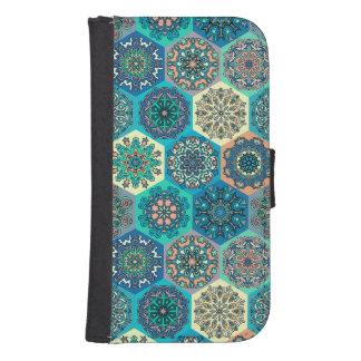 Capa Carteira Para Samsung Galaxy S4 Retalhos do vintage com elementos florais da
