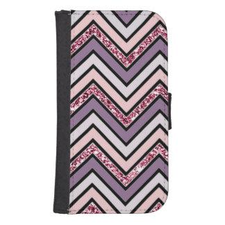 Capa Carteira Para Samsung Galaxy S4 Rosa & branco da lavanda de Chevron