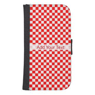 Capa Carteira Para Samsung Galaxy S4 Tabuleiro de damas clássico vermelho e branco por