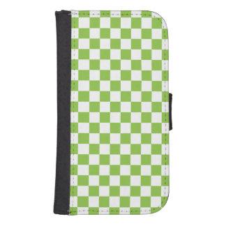 Capa Carteira Para Samsung Galaxy S4 Teste padrão do tabuleiro de damas do verde