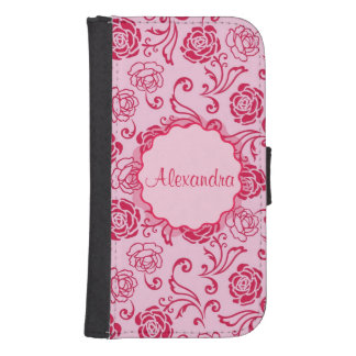 Capa Carteira Para Samsung Galaxy S4 Teste padrão floral da estrutura de rosas de chá