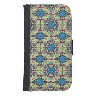 Capa Carteira Para Samsung Galaxy S4 Teste padrão floral étnico abstrato colorido de da
