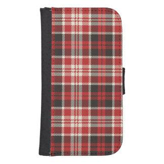 Capa Carteira Para Samsung Galaxy S4 Teste padrão vermelho e preto da xadrez