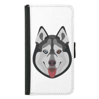 Capa Carteira Para Samsung Galaxy S5 A ilustração persegue o rouco Siberian da cara