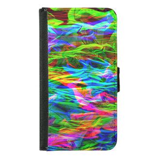Capa Carteira Para Samsung Galaxy S5 Abstrato de incandescência do arco-íris