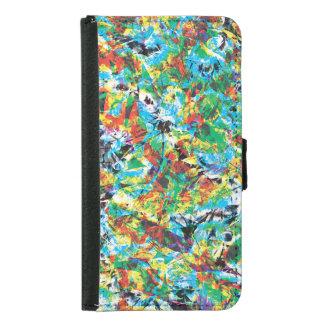 Capa Carteira Para Samsung Galaxy S5 Arte colorida do teste padrão de flor do primavera