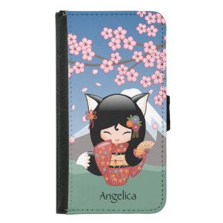 Capa Carteira Para Samsung Galaxy S5 Boneca de Kitsune Kokeshi - menina de gueixa do