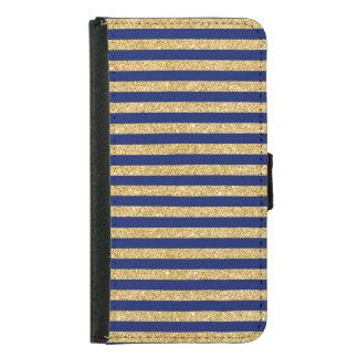 Capa Carteira Para Samsung Galaxy S5 Brilho elegante do ouro do falso e teste padrão da
