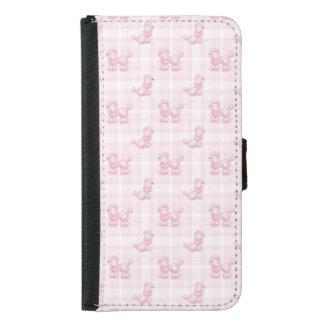 Capa Carteira Para Samsung Galaxy S5 Caniches cor-de-rosa bonitos & verificações