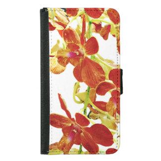 Capa Carteira Para Samsung Galaxy S5 Cascata de orquídeas alaranjadas
