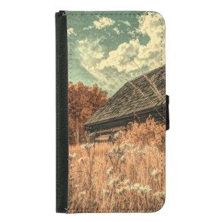 Capa Carteira Para Samsung Galaxy S5 celeiro velho da fazenda do wildflower do campo do