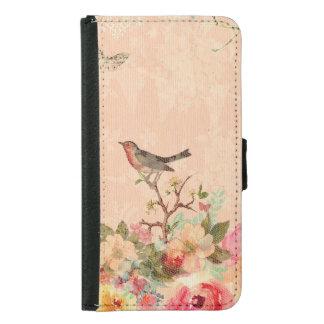 Capa Carteira Para Samsung Galaxy S5 Chique, pássaro, borboleta, laço, floral, país ch