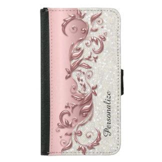 Capa Carteira Para Samsung Galaxy S5 Confetes brancos metálicos do rosa florido floral