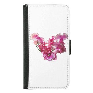 Capa Carteira Para Samsung Galaxy S5 Coração cor-de-rosa da ervilha doce