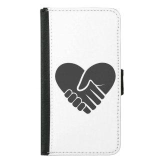Capa Carteira Para Samsung Galaxy S5 Coração preto conectado amor
