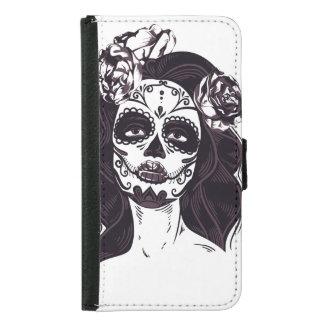 Capa Carteira Para Samsung Galaxy S5 Crânio gótico