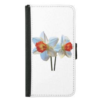 Capa Carteira Para Samsung Galaxy S5 Dois brancos e Daffodils alaranjados