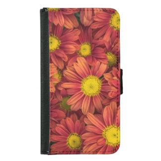 Capa Carteira Para Samsung Galaxy S5 Flores alaranjadas