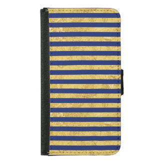 Capa Carteira Para Samsung Galaxy S5 Folha de ouro elegante e teste padrão da listra