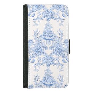 Capa Carteira Para Samsung Galaxy S5 Francês, chique, vintage, azul pálido, branco,