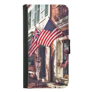 Capa Carteira Para Samsung Galaxy S5 Fredericksburg VA - Rua com bandeiras americanas