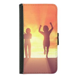 Capa Carteira Para Samsung Galaxy S5 Grupo de miúdos que têm o divertimento como um