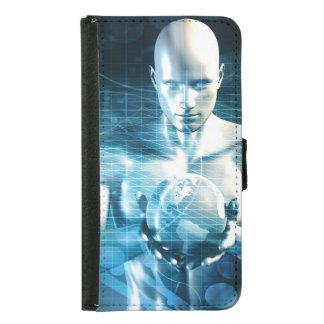 Capa Carteira Para Samsung Galaxy S5 Homem que guardara o globo com indústria da