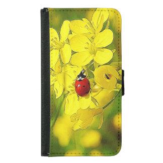 Capa Carteira Para Samsung Galaxy S5 Joaninha amarelo do vermelho da boa sorte da flor