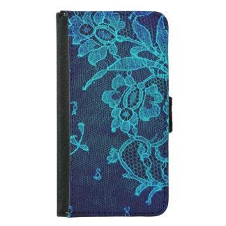 Capa Carteira Para Samsung Galaxy S5 Laço gótico dos azuis marinhos do Victorian