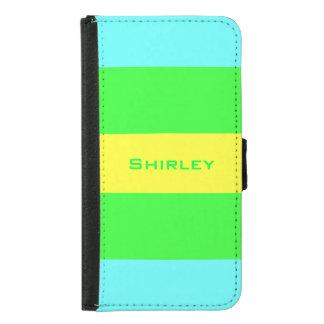 Capa Carteira Para Samsung Galaxy S5 Listras largas amarelas, verdes, azuis por Shirley
