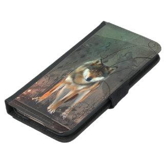 Capa Carteira Para Samsung Galaxy S5 Lobo impressionante no fundo do vintage