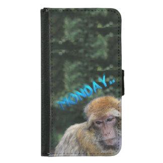 Capa Carteira Para Samsung Galaxy S5 Macaco triste sobre segunda-feira