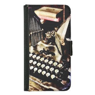 Capa Carteira Para Samsung Galaxy S5 Máquina de escrever antiga Oliver #9