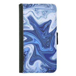 Capa Carteira Para Samsung Galaxy S5 Mármore branco azul do aqua dos redemoinhos da