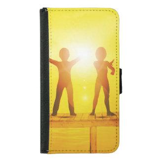 Capa Carteira Para Samsung Galaxy S5 Miúdos que jogam no verão em um cais