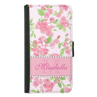 Capa Carteira Para Samsung Galaxy S5 Nome de ramos cor-de-rosa da flor da aguarela do