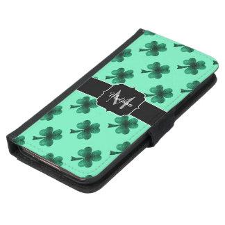 Capa Carteira Para Samsung Galaxy S5 O verde esmeralda Sparkles monograma do trevo do