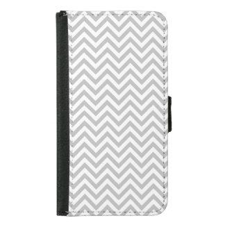 Capa Carteira Para Samsung Galaxy S5 O ziguezague cinzento e branco listra o teste