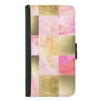 Capa Carteira Para Samsung Galaxy S5 ouro, pastels, cores de água, quadrados, colagem,