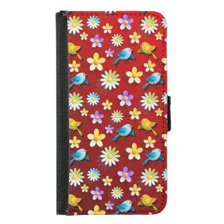 Capa Carteira Para Samsung Galaxy S5 Pássaros e flores do primavera vermelho