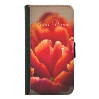 Capa Carteira Para Samsung Galaxy S5 Pétalas vermelhas bonito da tulipa. Adicione seu