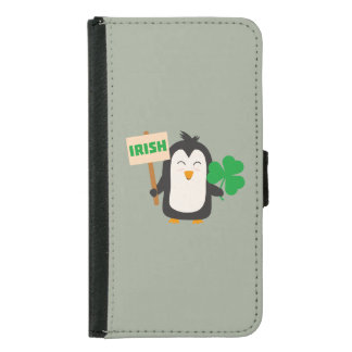 Capa Carteira Para Samsung Galaxy S5 Pinguim irlandês com trevo Zjib4