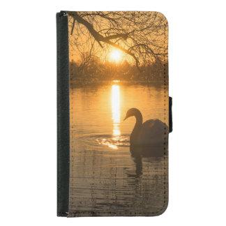 Capa Carteira Para Samsung Galaxy S5 Por do sol com cisne