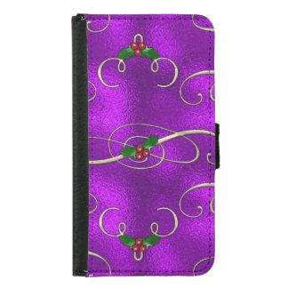 Capa Carteira Para Samsung Galaxy S5 Redemoinhos românticos do Natal do Lilac