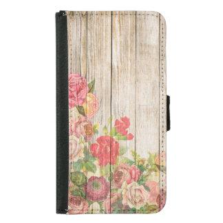 Capa Carteira Para Samsung Galaxy S5 Rosas românticos rústicos do vintage de madeira
