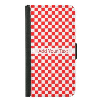 Capa Carteira Para Samsung Galaxy S5 Tabuleiro de damas clássico vermelho e branco por