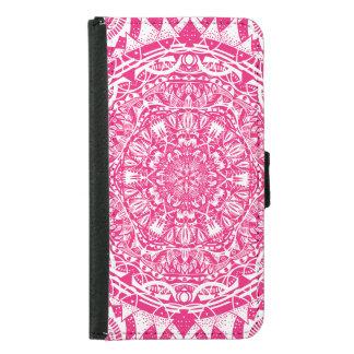 Capa Carteira Para Samsung Galaxy S5 Teste padrão cor-de-rosa da mandala
