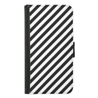 Capa Carteira Para Samsung Galaxy S5 Teste padrão diagonal preto e branco das listras