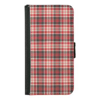 Capa Carteira Para Samsung Galaxy S5 Teste padrão vermelho e preto da xadrez